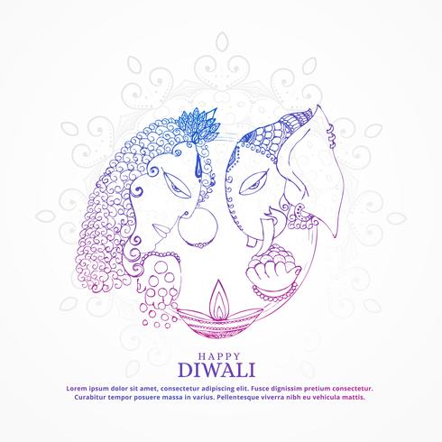 goddess lakshmi and lord ganesha creative happy diwali backgroun