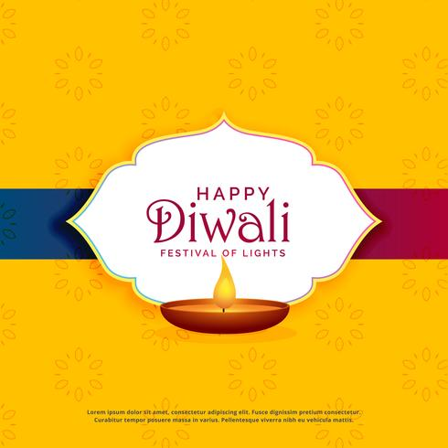 yellow happy diwali greeting card design with diya