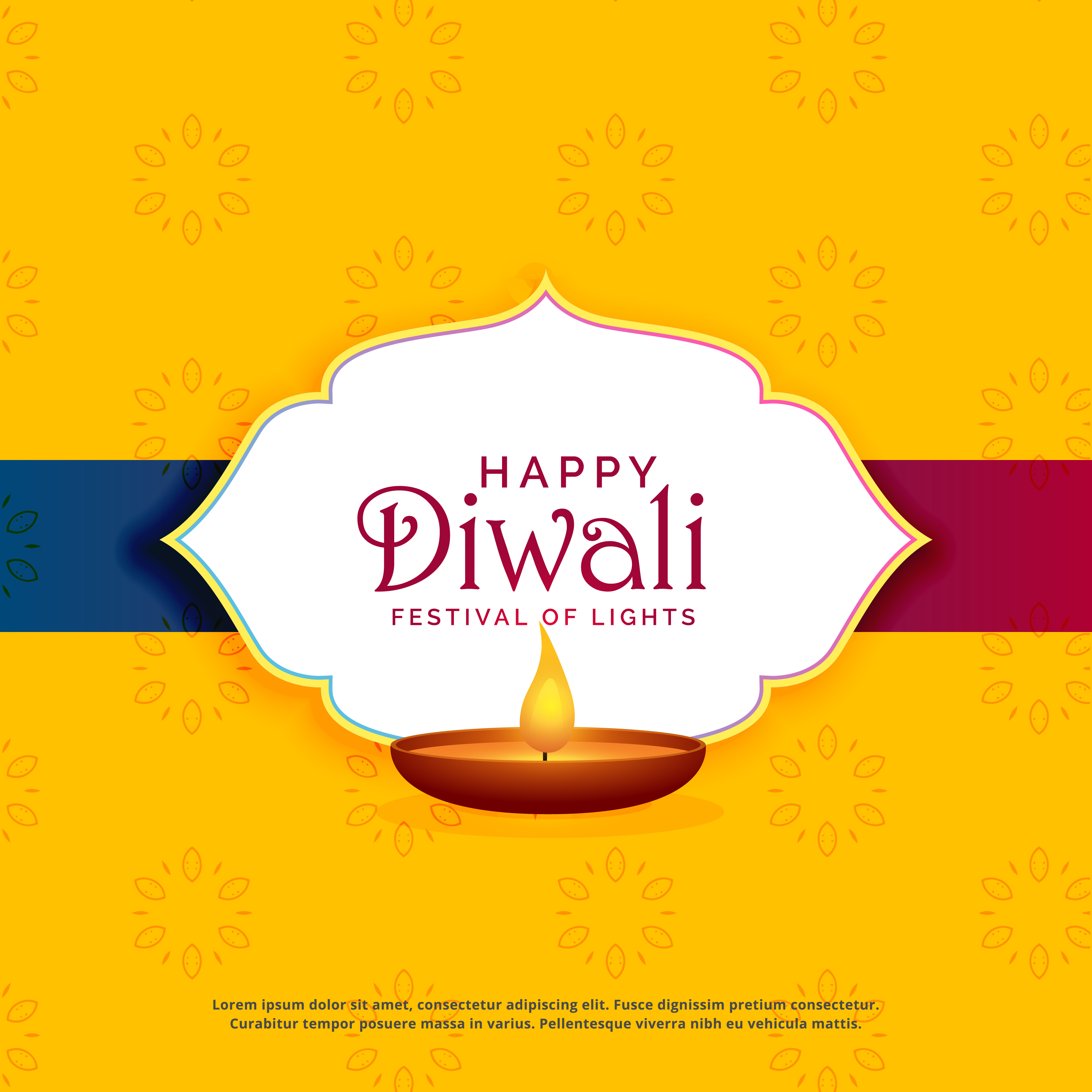 Yellow Happy Diwali Greeting Card Design With Diya Download Free