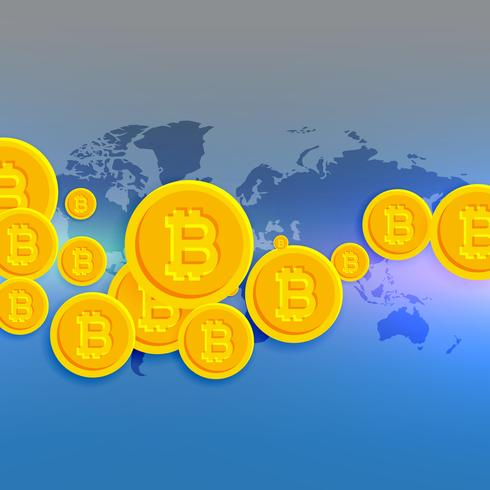 world map with floating bitcoins symbols