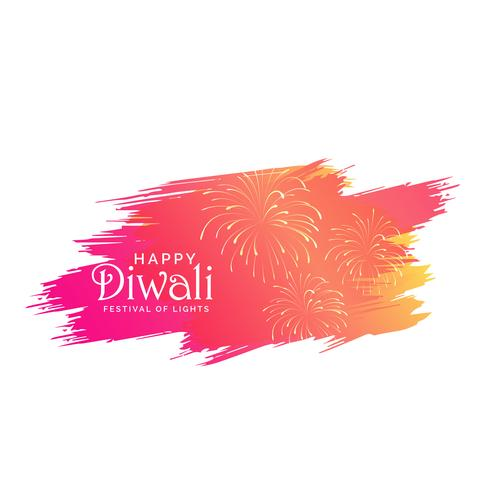 diwali background made with pink paint brish stroke and crackers