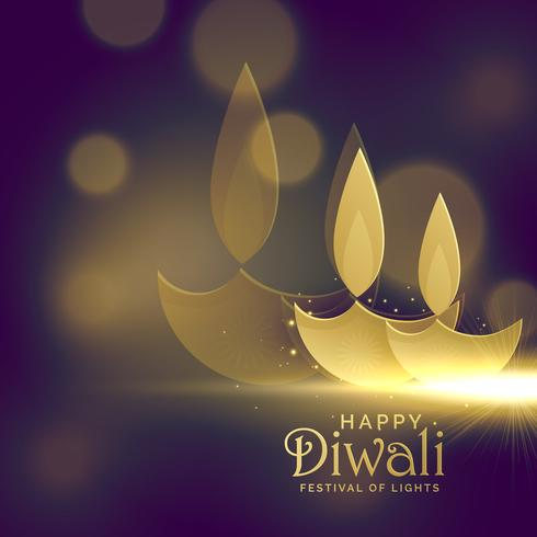 creative golden diwali diya with glowing light effect vector bac