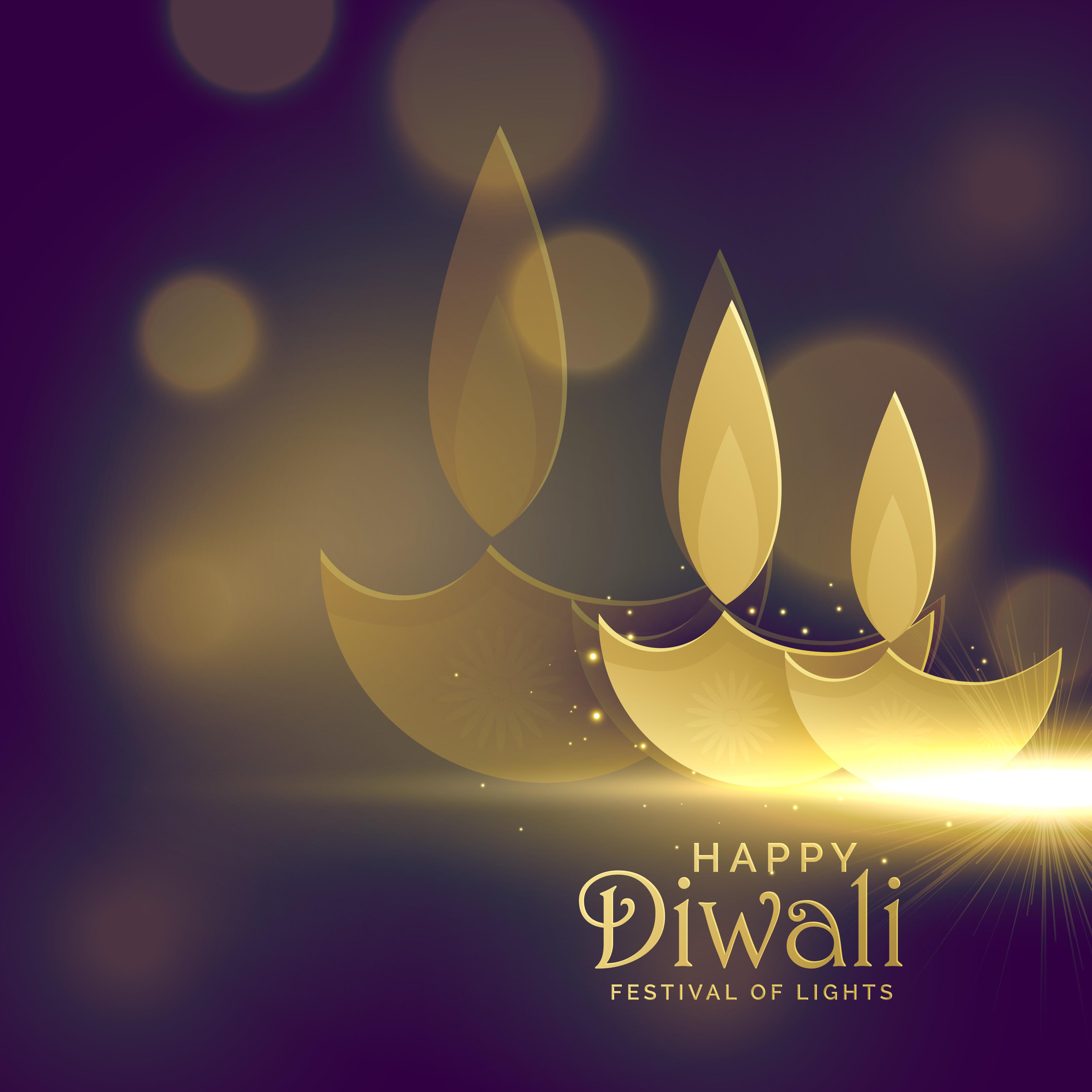creative golden diwali diya with glowing light effect vector bac
