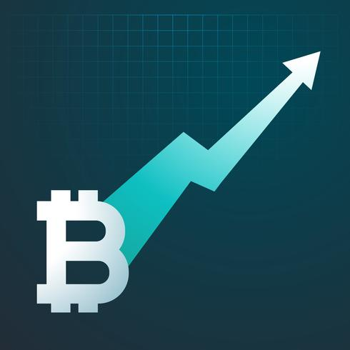 bitcoins upward trend graph arrow rising up