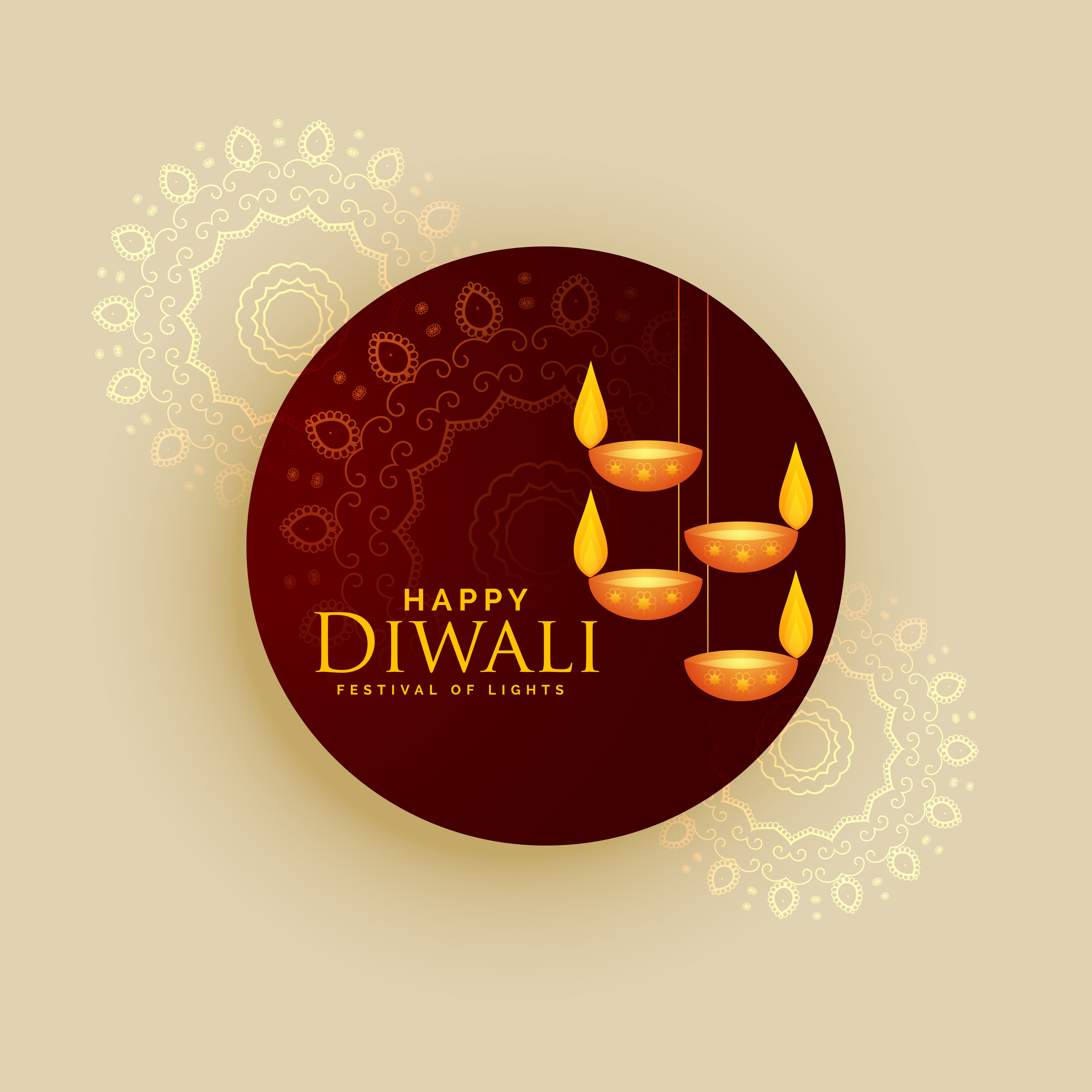 Diwali Holiday Greeting Card Vector Design With Hanging Lamps