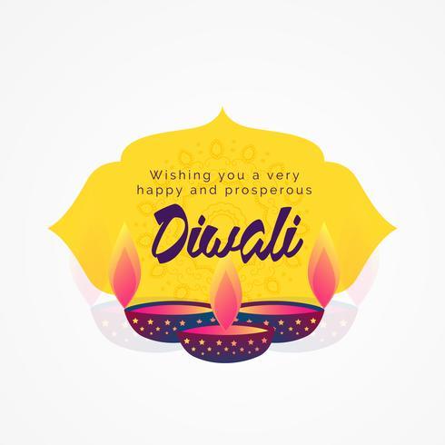 diwali wishes greeting card design with diya