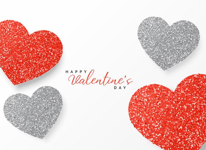 happy valentine's day greeting template glitter design in red an