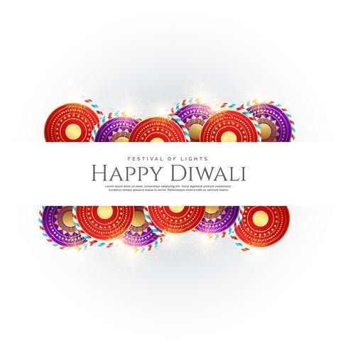 happy diwali background with festival crackers