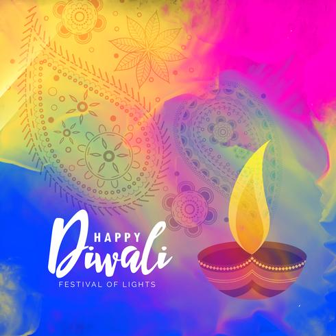 beautiful happy diwali watercolor background design