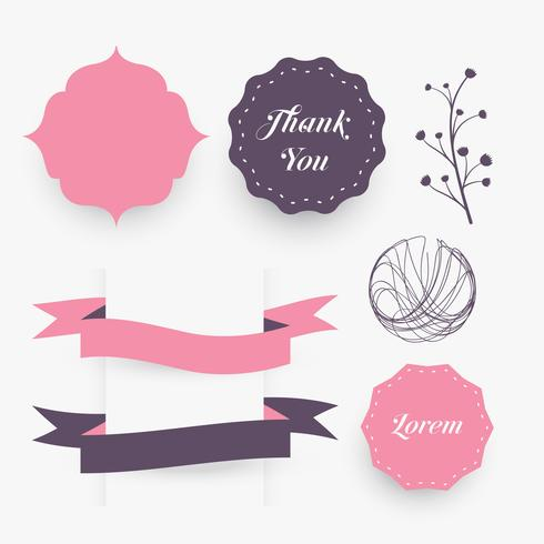 wedding decorative design elements frames, ribbons and florals