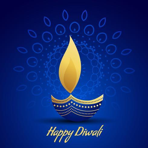 happy diwali festival greeting with decorative diya lamp on blue