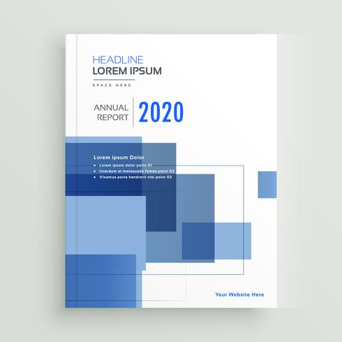 business annual report brochure template design with blue geomet