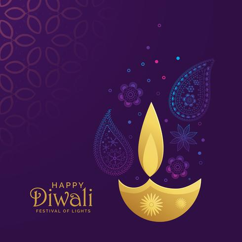 golden diwali diya with paisley decoration