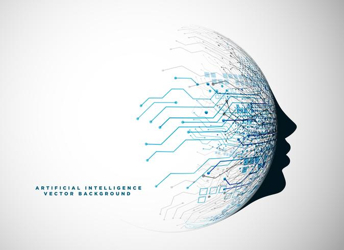 futuristic digital face for artificial intelligence background