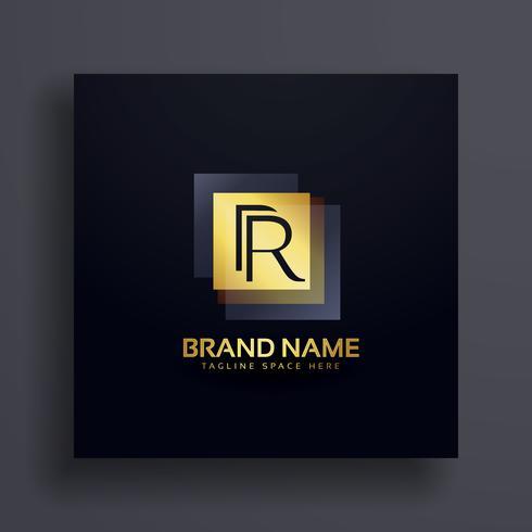 letter R premium logo design concept in gold