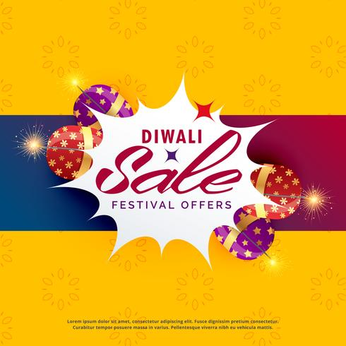 bright diwali sale and discount poster design with crackers