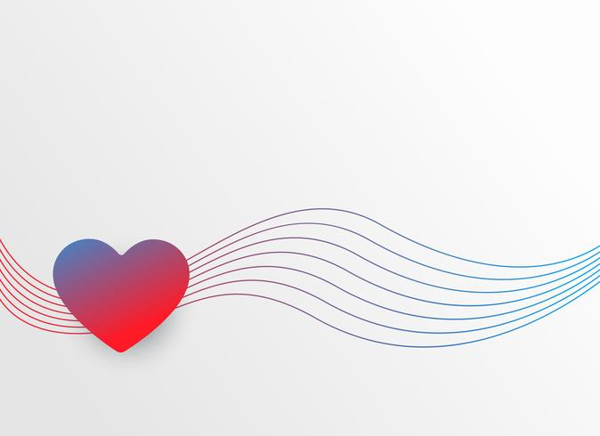 colorful heart with wavy lines valentine's day background