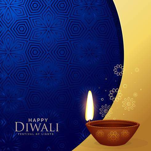 premium diwali greeting background with decorative diya