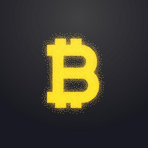 bitcoins gold icon design made with particles
