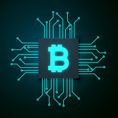 technology style bitcoin vector background