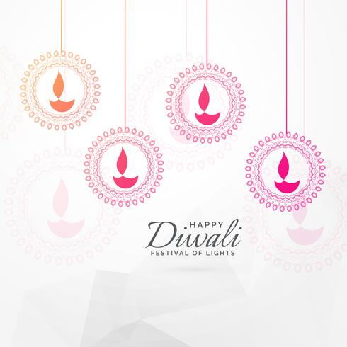 creative diwali festival greeting card design with hanging diya