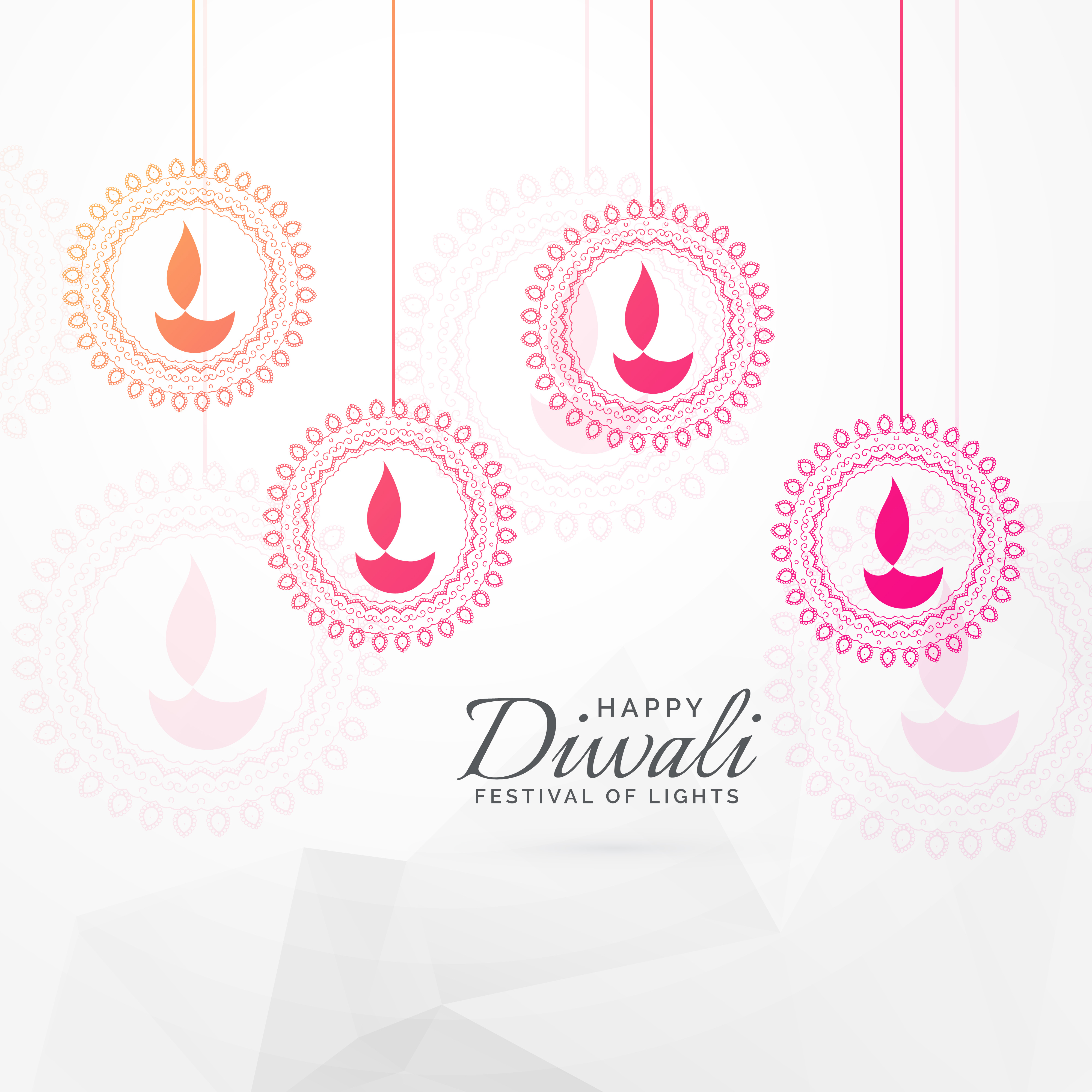 Creative Diwali Festival Greeting Card Design With Hanging