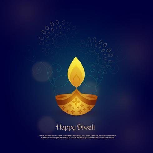 diseño de tarjeta feliz diwali con hermosa diya