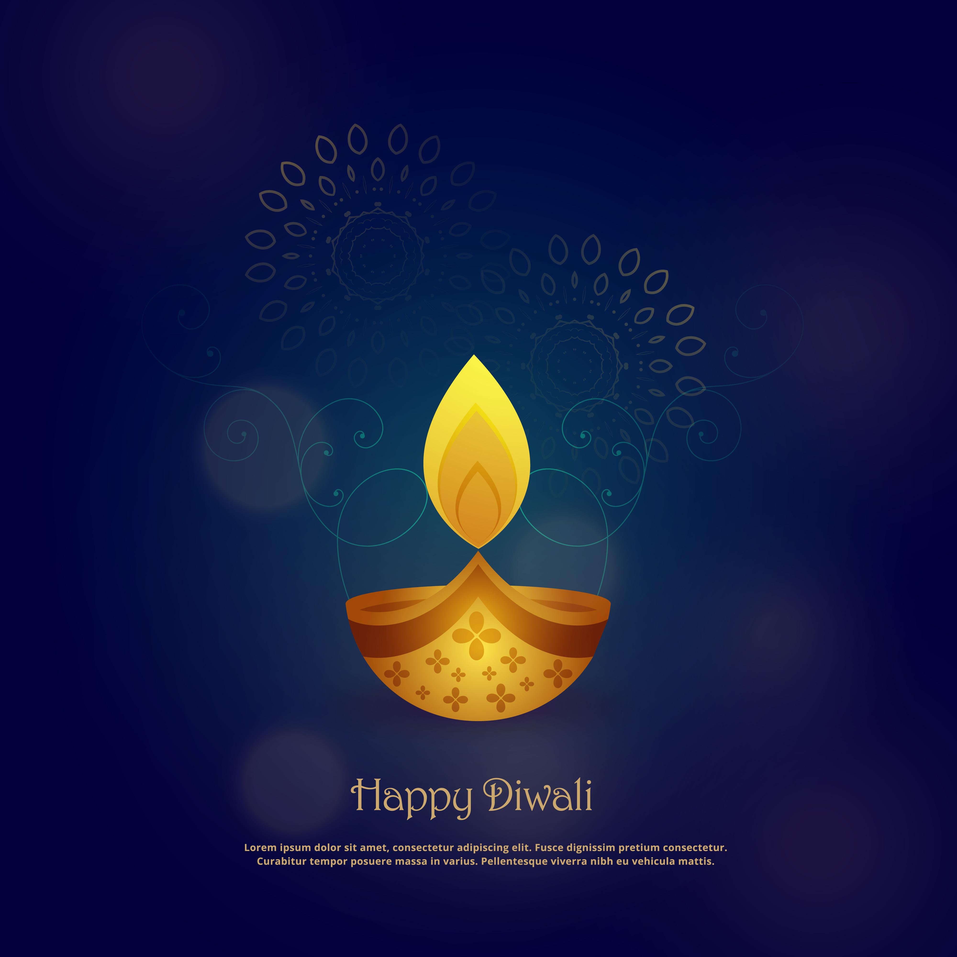 happy diwali card design with beautiful diya  download