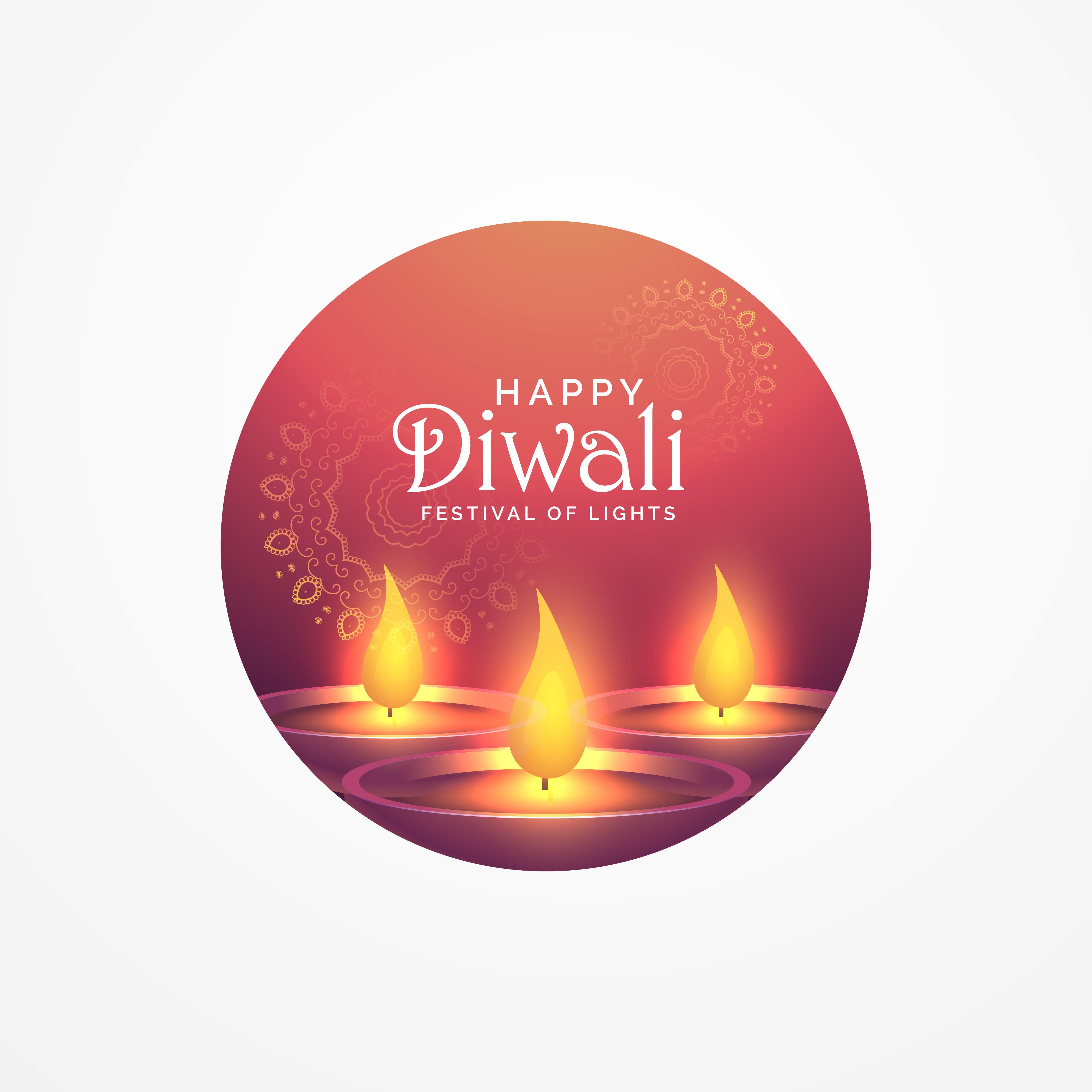 Awesome Diwali Greeting Card Design With Burning Diya For Festiv