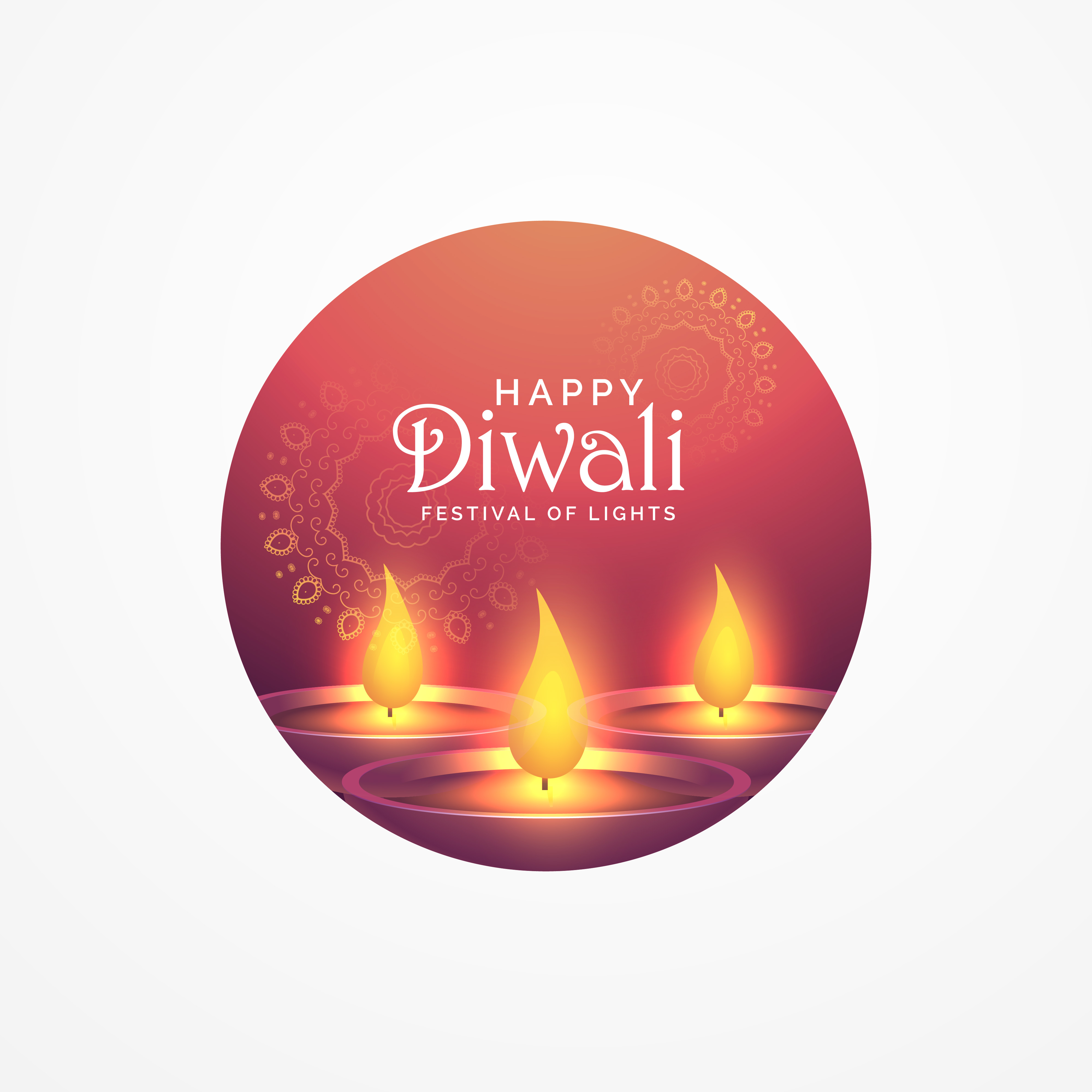 awesome diwali greeting card design with burning diya for