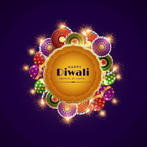 happy diwali celebration festival greeting with burning crackers