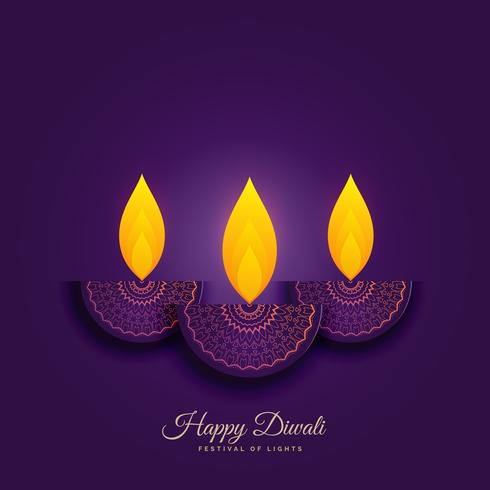 happy diwali holiday background with burning diya