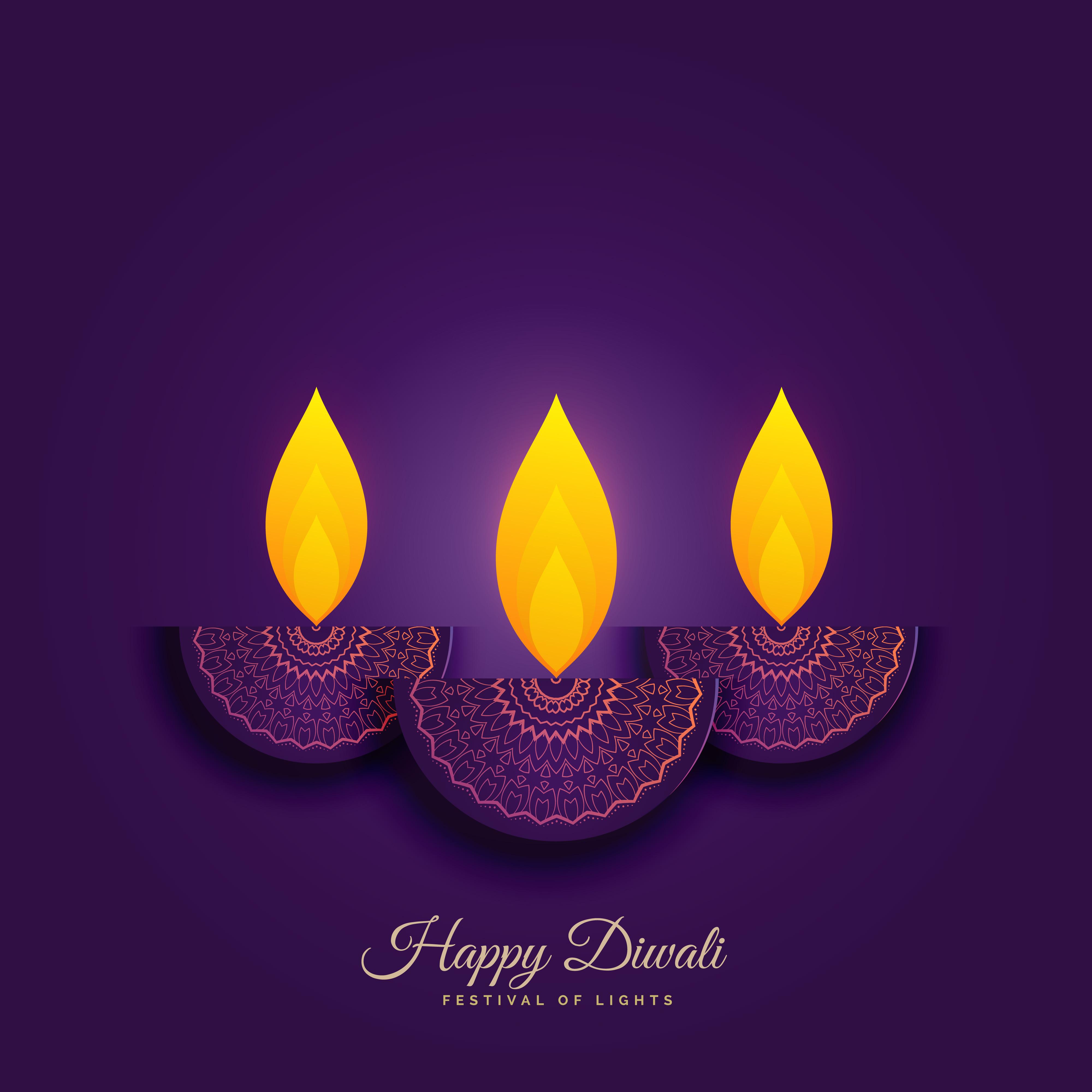 happy diwali holiday background with burning diya ... Indian Religious Background