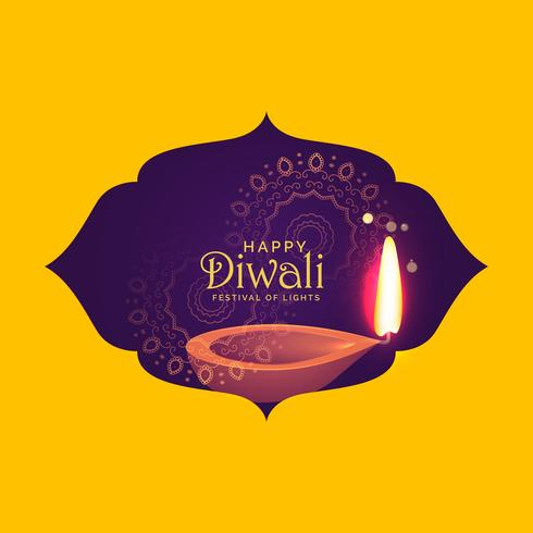 beautiful diwali card design for festival of light