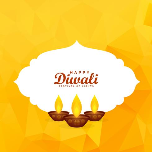 yellow diwali festival greeting background with burning diya
