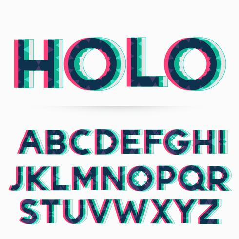 holographic alphabet font vector illustration