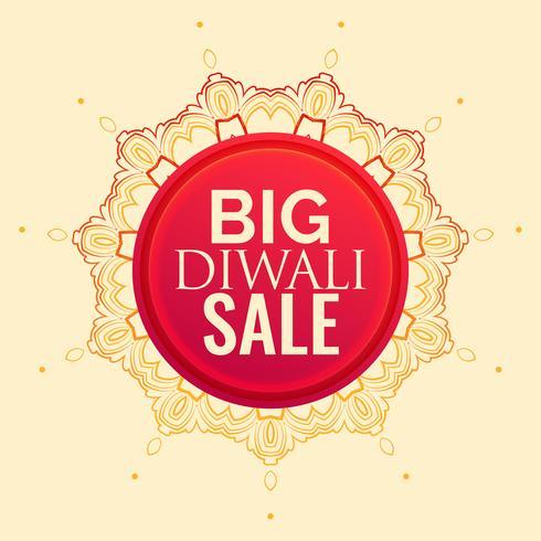 design de cartaz de venda de diwali com decoração de mandala