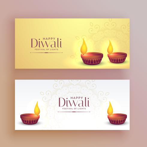 beautiful diwali festival banners with diya lamp
