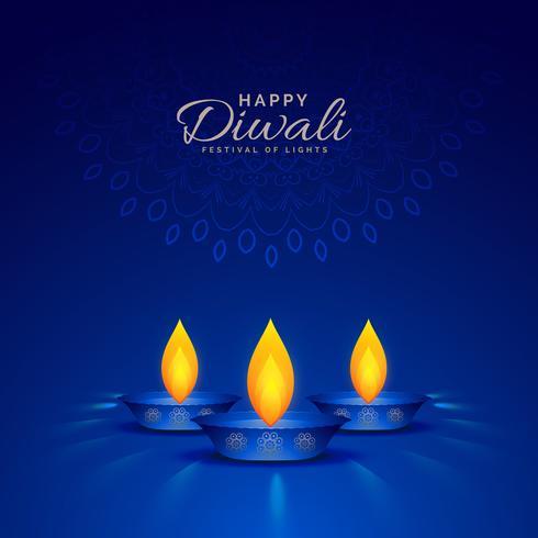 illustration of burning diya on blue background for happy diwali