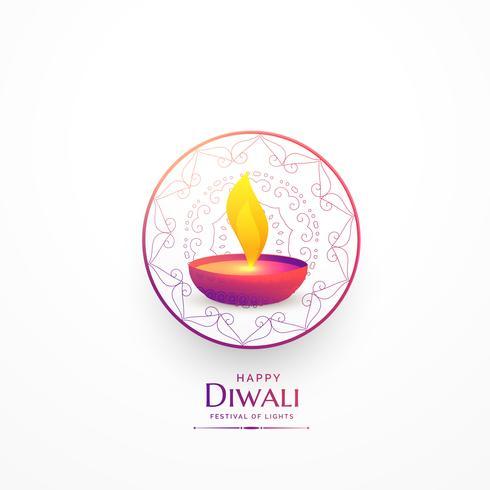 happy diwali simple greeting with vibrant diya