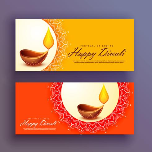 banners de festival de diwali cartão de fundo vector