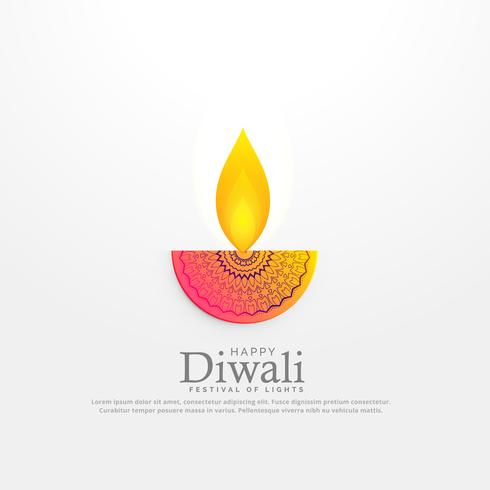 diwali festival diya vector illustration in floral deocration de