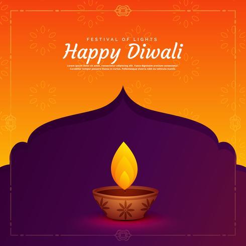 ethnic religious diwali festival background with diya lamp