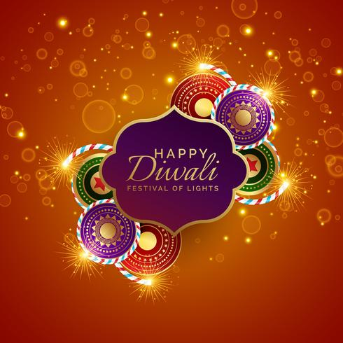 sparkling diwali festival sale background with crackers
