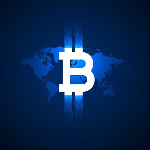 digital bitcoin symbol över världskarta vektor bakgrund
