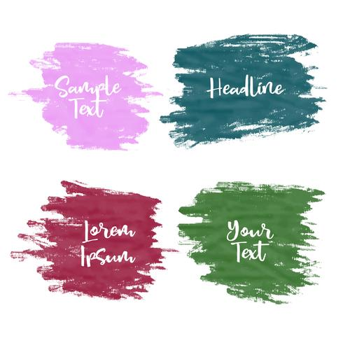 set of four greunge watercolor paint stroke grunge banners