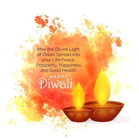 awesome diwali festival wishes with watercolor splash and diya