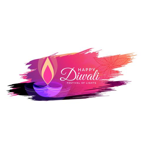 creative watercolor diwali festival greeting card design with di