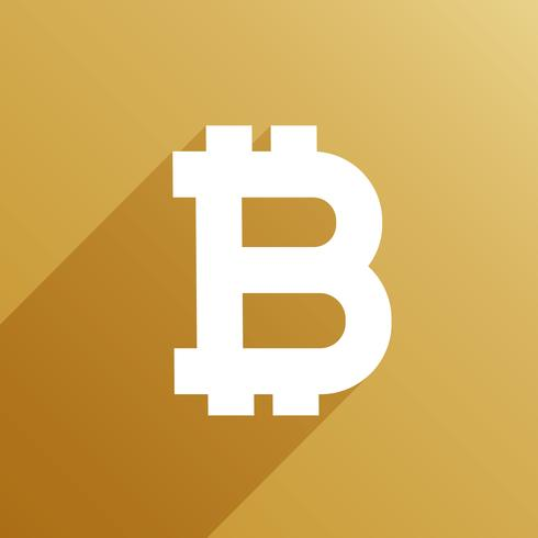 bitcoin symbol with long shadow vector