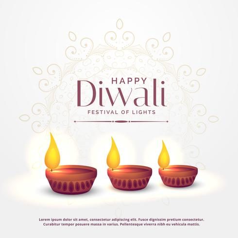 happy diwali background with three diya lamps